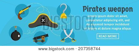 Pirates weapon banner horizontal concept. Flat illustration of pirates weapon banner horizontal vector concept for web design