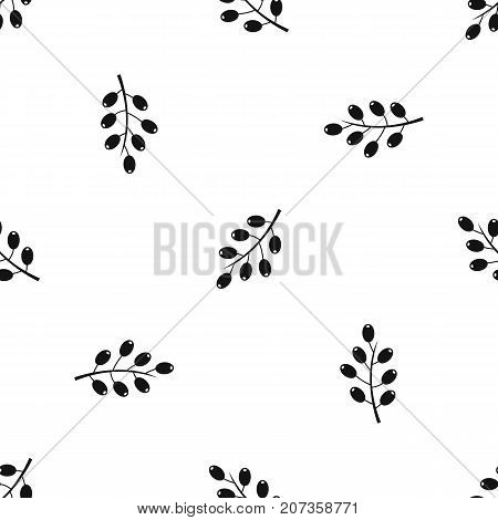 Barberry branch pattern repeat seamless in black color for any design. Vector geometric illustration