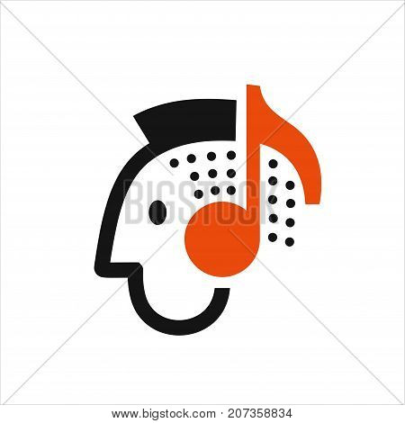 Man listening to music on headphones, head with headphones in the form of notes symbol, music lover icon vector illustration on white background