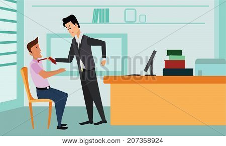 Businessman attacking his colleague, grabbing him by the tie and getting ready to punch him in the face. Violence, angry boss, mobbing, bullying at workplace concept illustration vector.
