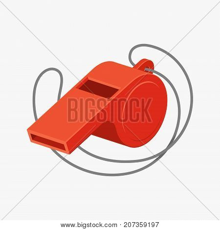 Red referee whistle vector illustration isolated on white background