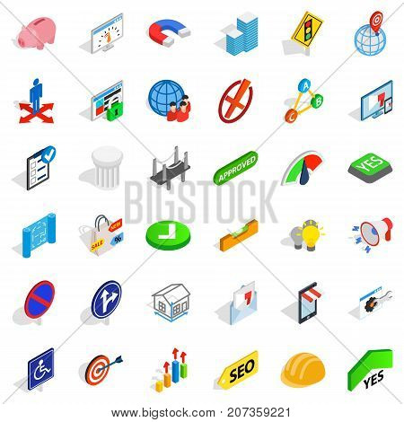 Decision icons set. Isometric style of 36 decision vector icons for web isolated on white background