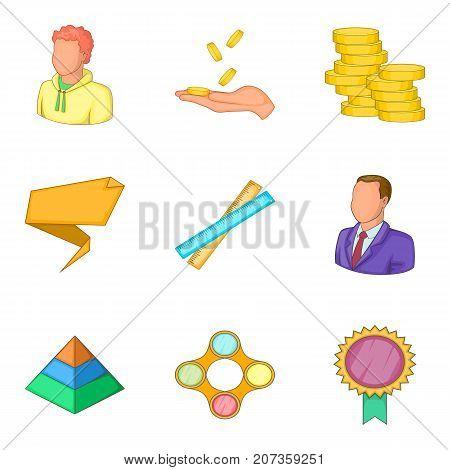 Profit icons set. Cartoon set of 9 profit vector icons for web isolated on white background