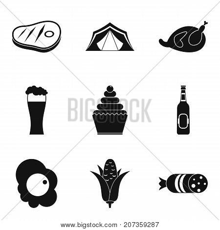 Camping snack icons set. Simple set of 9 camping snack vector icons for web isolated on white background