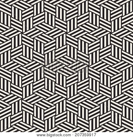 Cubic Grid Tiling Endless Stylish Texture. Abstract Geometric Background Design. Vector Seamless Rhombus Shapes Black and White Pattern.