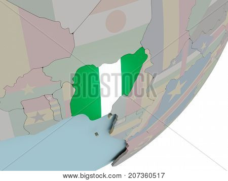 Nigeria On Globe With Flags