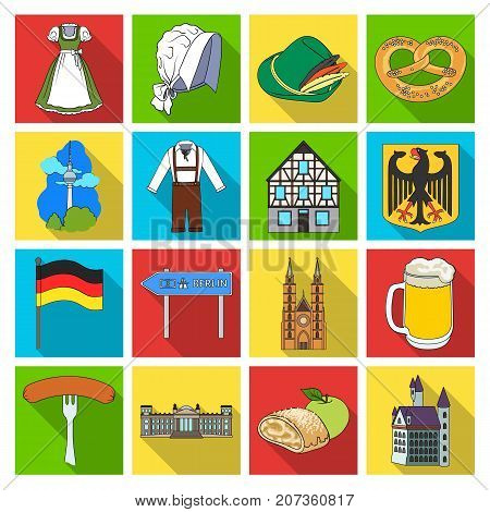 Germany, country, architecture and other  icon in flat style. Attributes, tourism, Oktoberfest icons in set collection.