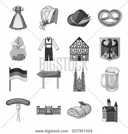 Germany, country, architecture and other  icon in monochrome style. Attributes, tourism, Oktoberfest icons in set collection.