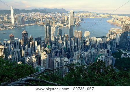 Hong Kong cityscape from the bird´s eye view.