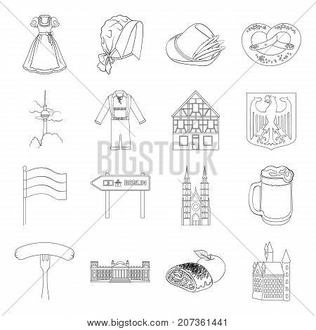 Germany, country, architecture and other  icon in outline style. Attributes, tourism, Oktoberfest icons in set collection.
