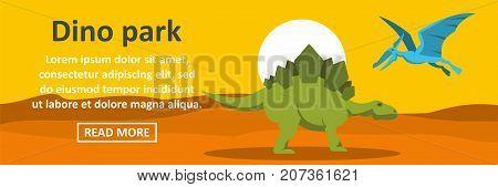 Dino park banner horizontal concept. Flat illustration of dino park banner horizontal vector concept for web design