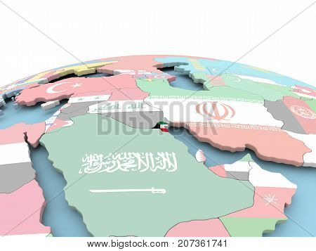 Flag Of Kuwait On Bright Globe