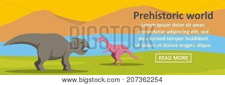 Prehistoric dino world banner horizontal concept. Flat illustration of prehistoric dino world banner horizontal vector concept for web design