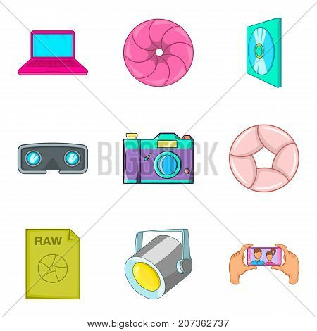 TV series icons set. Cartoon set of 9 tv series vector icons for web isolated on white background
