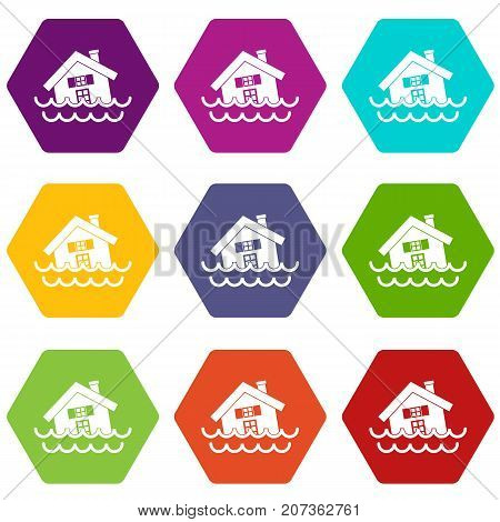 House sinking in a water icon set many color hexahedron isolated on white vector illustration