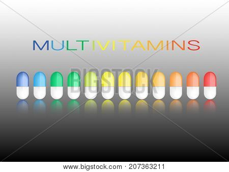 Multivitamin label inspiration, icon concept vitamins pills, vector isolated