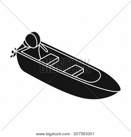 Small metal boat with motor for fishing.Boat for river or lake fishing.Ship and water transport single icon in black style vector symbol stock web illustration.