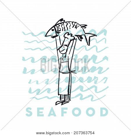 seafood fish and cook abstract hand drawn design elements for menu, poster, invitation. vector traced graphic illustration