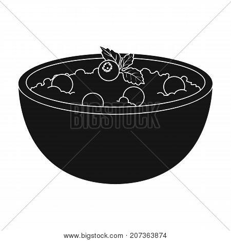 Delicious vegetarian porridge.Porridge for vegetarians blueberry.Vegetarian Dishes single icon in black style vector symbol stock web illustration.
