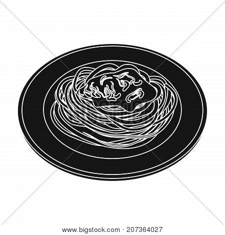 The dish in which wheat spaghetti with red sauce.Main dish vegetarian.Vegetarian Dishes single icon in black style vector symbol stock web illustration.
