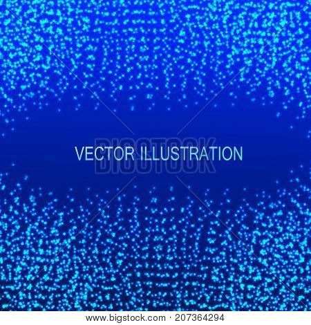 Blue illustration with particles at the edges. Virtual abstract background with particle structure. Vector illustration.