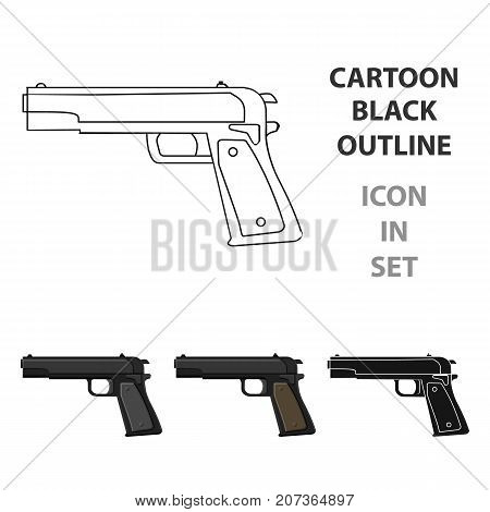 Military handgun icon in cartoon style isolated on white background. Military and army symbol vector illustration