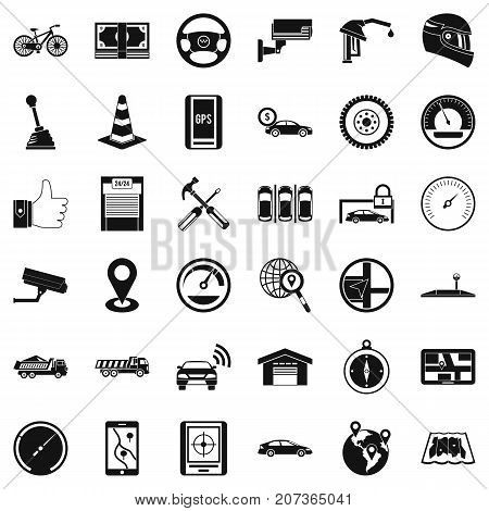 Garage icons set. Simple style of 36 garage vector icons for web isolated on white background