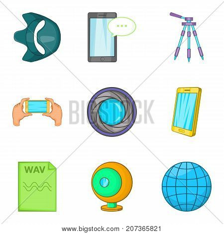 Mobile survey icons set. Cartoon set of 9 mobile survey vector icons for web isolated on white background