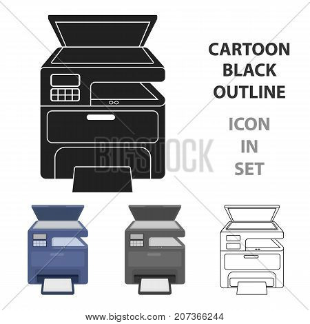 Multi-function printer in cartoon style isolated on white background. Typography symbol vector illustration.