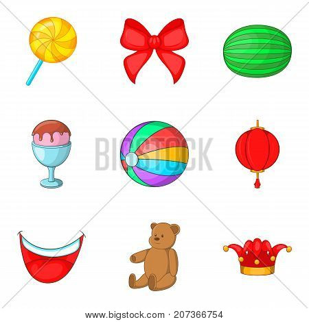 Unlimited fun icons set. Cartoon set of 9 unlimited fun vector icons for web isolated on white background