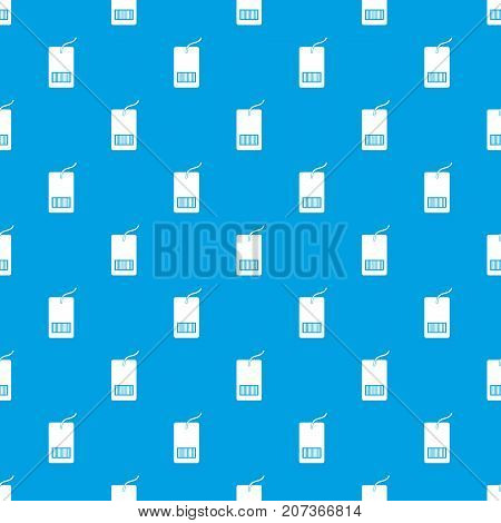 Tag with bar code pattern repeat seamless in blue color for any design. Vector geometric illustration