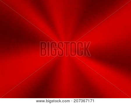 Red metal technology background with polished, brushed circular concentric texture, chrome, silver, steel, for design concepts, web, posters, wallpapers and prints. Vector illustration.