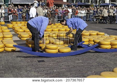 ALKMAAR NETHERLANDS - CIRCA APRIL 2007 - Every Friday April through September the Alkmaar Cheese Market takes place on the square Waagplein in town. Here are the zetters or loaders of the cheese.