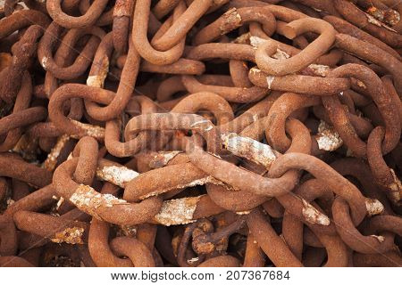 Rows of rusted chains as a background