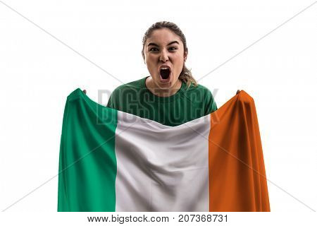 Irish female fan holding the national flag isolated