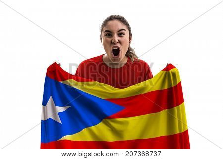 Catalan female fan holding the national flag isolated