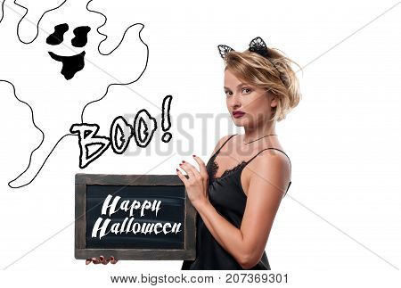 Halloween Costume. Woman With Carnival Cat Ears