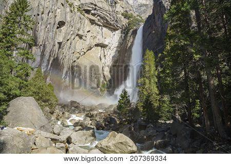 Lower Yosemite Fall In The Famous Yosemite