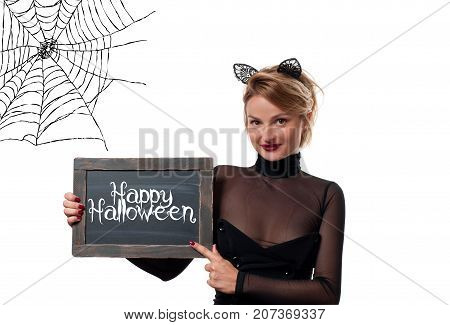 Halloween Costume. Woman With Carnival Cat Ears Holding Chalkboard
