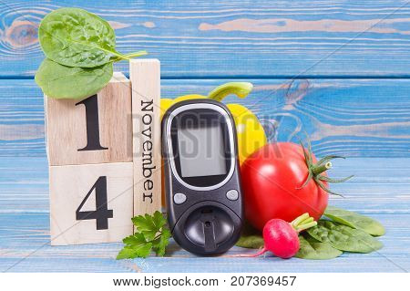 Date Of 14 November, Glucose Meter And Fresh Vegetables, World Diabetes Day Concept