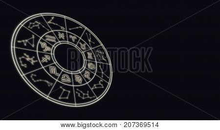 Astrology And Horoscopes Concept. Astrological Zodiac Signs In Circle On Starry Background.