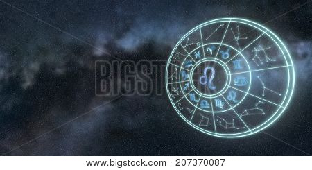 Light Symbols Of Zodiac And Horoscope Circle, Leo Zodiac Sign