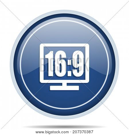 16 9 display blue round web icon. Circle isolated internet button for webdesign and smartphone applications.