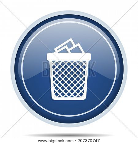Trash can blue round web icon. Circle isolated internet button for webdesign and smartphone applications.