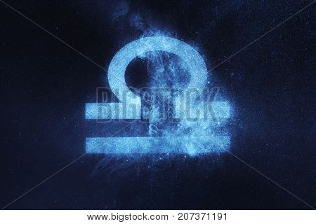 Libra Zodiac Sign. Abstract Night Sky Background