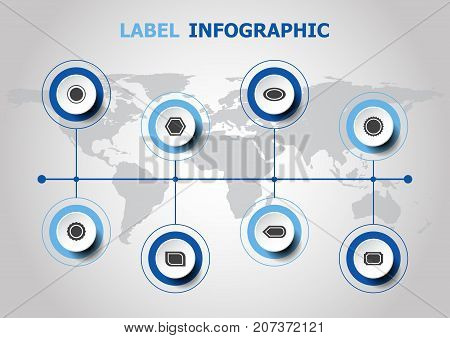 Infographic design with label icons, stock vector