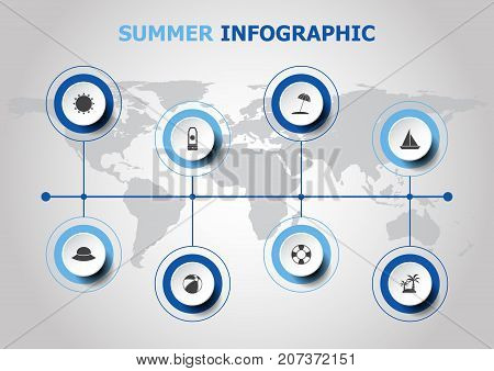 Infographic design with summer icons, stock vector