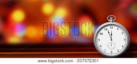 Happy new year concept. Pocket watch isolated on festive abstract background, copy space. 3d illustration
