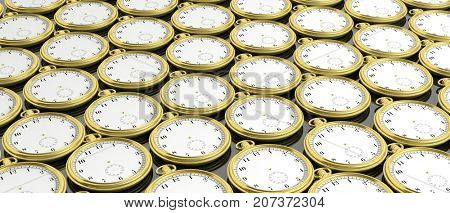 Golden pocket timeless watches background. 3d illustration
