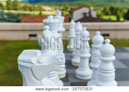 Close Up Of Big White Wood Chess On The Chessboard Floor. Decision Concept.